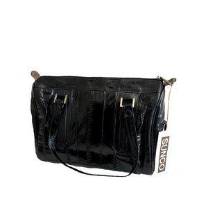 Vintage black Sunco genuine eel skin hand bag RARE
